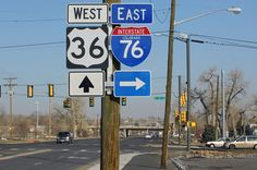 Colorado - U. S. highway 36 and interstate 76 sign.