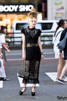 92c87269 Yuri's look features a fun Dolce&Gabbana teddy bear headband with a black  lace Dolce&Gabbana dress, and patent platform heels she purchased in  Shinjuku.