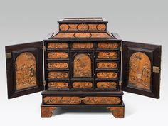 """Cabinet """"Meister mit dem ornamentierten Hintergrund"""", Eger, mid 17th century. Relief inlay; 80 × 63.5 × 37.5 cm. -Im Kinsky, Auktionshaus- Art Cabinet, Wooden Storage Boxes, Woodworking Projects, Decorative Boxes, Antiques, Eger, Pirate, Project Ideas, Cabinets"""