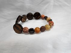 Soapstone and Wood Carved Beaded Stretch Bracelet by NfntyArt on Etsy