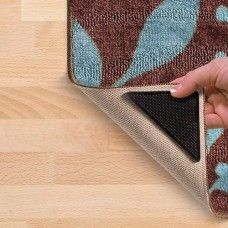 Description:  Place grippers around the corners of any rug.  Tacky grip polymer technology grips the rug, while hundreds of suction pockets grip the floor.  Rug grippers without any glue and are completely safe to wash and reuse.