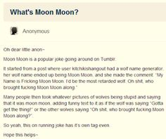 What is Moon Moon? Wolf Name Generator, Moon Moon, My Name Is, Jokes, Humor, Lifting Humor, Chistes, Work Funnies, Hilarious Stuff