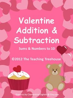 18 Valentine themed addition & subtraction worksheets, sums/numbers to 10. Adding and subtracting using pictures. For beginning level skills; Kindergarten/1st.  Horizontal and vertical problems.  Color and black & white versions included. $