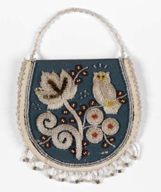 "Beaded purse, ""Remember Me,"" with floral designs and an owl on the opposite side; clear, red, yellow, orange, and black beads on blue cloth, c. 1880s, Iroquois Beadwork"