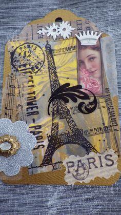 Paris collage tag by Linda Mitcheltree 3-7-14