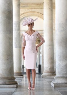 This short fitted dress features a flattering wrap effect bodice. The V shaped neckline helps to elongate the body and the sheer sleeves give the perfect amount of coverage. Mother Of Bride Outfits, Mother Of Groom Dresses, Mother Of The Bride, Bride Dresses, Occasion Wear Dresses, Short Fitted Dress, Pleated Bodice, Groom Outfit, Stretch Dress