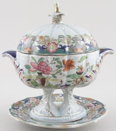 Masons - Table and Flower Pot colour - Dessert Tureen c1820