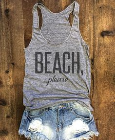 Living in Southern California, we are surrounded by a lot of beaches. Sometimes you just have to say BEACH, please!   A sexy tank with generously cut arm openings and a slim racerback in our ultra soft Tri-Blend fabric.  • Tri-Blend (50% Polyester / 25% Cotton / 25% Rayon) construction • Polyester retains shape and elasticity; Cotton lends both comfort and durability; addition of Rayon makes for a unique texture and drapes against the body for a slimming look • Racerback • Form-fitt...
