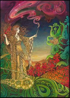 Queen of Wands Psychedelic Gypsy Goddess Tarot Art 5x7 Greeting Card