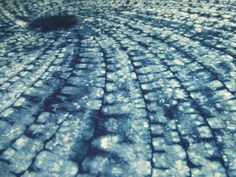 Stitch resist shibori, spiral-angle, by Kim Winters, Flextiles