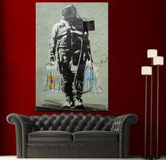 Wall Art Canvas Print Graffiti Banksy Spaceman Home Decor Prints