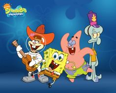Sandy, Spongebob, Patrick, and Squidward (happy)
