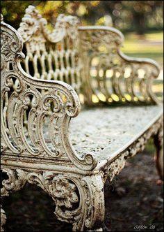 Rejuvenation Salvage Sighting: weathered vintage garden bench