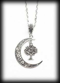 Tree of Life Necklace Crescent Moon