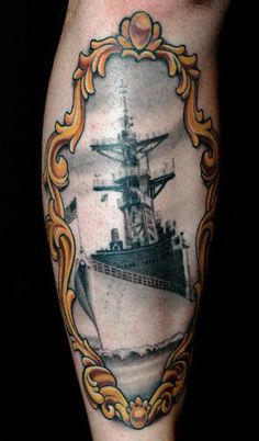 Love the angled view of the ship. But want roses in frame : Russ Abbott - Battleship tattoo in a Victorian frame :: cool!