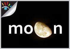 Moon - Maan. Typografie - communicatie.