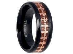 Black Titanium Ring With Rose Gold IP Wrap-Around Cross Over Rosewood Inlay - Select Wedding Rings