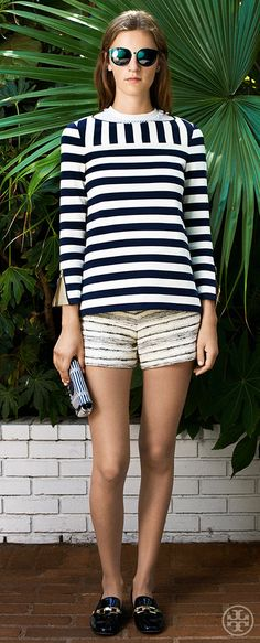 Try shorts with loafers: the higher the hemline, the lower the heel | Tory Burch Resort 2014