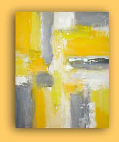 Very contemporary and modern colors of yellows and grays. This painting is textured and can be displayed in any direction.    Original fine art