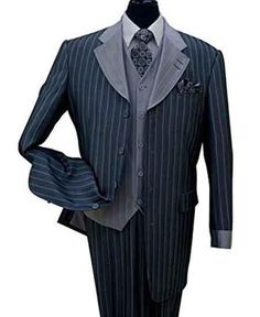 #MensUSA - #Mensusa Products Bold Chalk Stripe Navy Notch Lapel Pinstripe 3 Piece Wool Feel Vest And Cuff Fashion Suit - AdoreWe.com