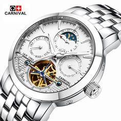 US $73.29 - 2016 Carnival sports tourbillon automatic mechanical brand watch waterproof men luxury full steel watches relogio masculino