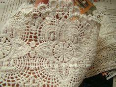 Extra-long Cotton Lace Trim , Crochet Lace Trim,  Antique Lace Trim, Ecru Cotton Lace