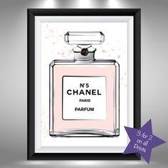 Chanel No 5 Perfume Bottle Fashion Art Sketch & Watercolour Picture Print 5 size