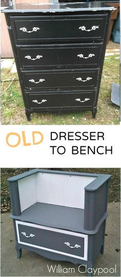 William Claypool shares how he converted an old dresser destined for the fire pit into a beautiful bench!