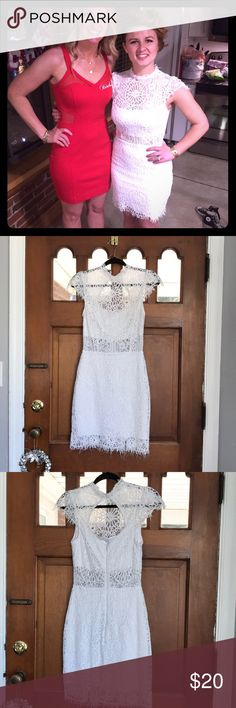 Bebe white lace dress Worn once!!! White lace dress with amazing detail!! bebe Dresses