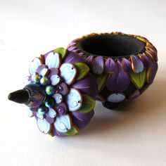 Blue Lavender Flower Pot with dew Drops, Polymer Clay Box, Mixed Media Original Art, Ring Box, Trinket Box by Claybykim on Etsy