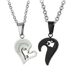 Amazon.com: His & Hers Matching Set Titanium Couple Pendant Necklace Korean Love Style in a Gift Box (ONE PAIR): Jewelry