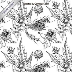 Free vector Engraving pattern with flowers #9869