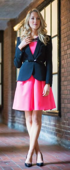 transitioning from working girl to wedding guest with @Nordstrom in this neon pink dress and black blazer