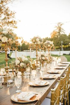 Elegant gold and pink tablescape #outdoorwedding #tablescape #goldwedding #weddingreception #wedding