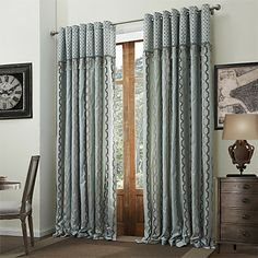 (One Panel) Classic Jacquard Chenille Stripe Lined Curtain  With Beads – USD $ 79.99