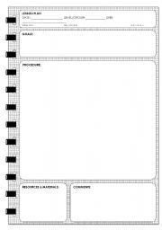 English worksheet: LESSON PLAN TEMPLATE