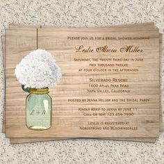 Mason Jar & Flowers Country Wooden Rustic Bridal Shower or Wedding Shower Printable DIY Invitation. $10.99, via Etsy.