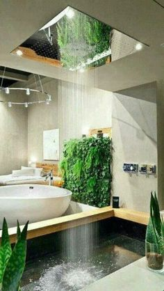 Wow - bath with mirrored overhead rain shower #interiordesign...x