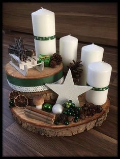 Create an unusual Advent wreath without needles this year: 31 magical and . Diy Centerpieces, Christmas Centerpieces, Xmas Decorations, Holiday Crafts, Holiday Decor, Advent Wreath, Woodland Christmas, Scandinavian Christmas, Decoration Table