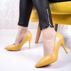 Pantofi dama cu toc galbeni Riavia-20 Stiletto Heels, Shoes, Fashion, Moda, Zapatos, Shoes Outlet, Fashion Styles, Fasion, Footwear