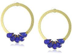 Yochi Blue Petal Endless Hoop Hammered Earrings Yochi. $66.11. Made in US