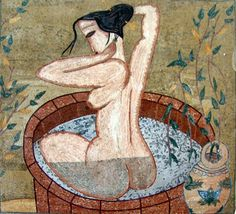 Woman taking a bath Marble Mosaic Art
