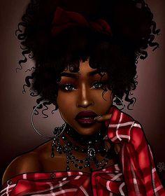 Sexy Black Art, Black Love Art, Black Girl Art, My Black Is Beautiful, Black Girls Rock, Black Girl Magic, Art Girl, Fantasy Girl, Drawings Of Black Girls