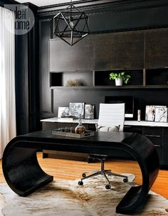 Mid Century Modern Glamour Canada Style At Home Magazine Sarah Blakely. Brown and black color scheme with a light rug.