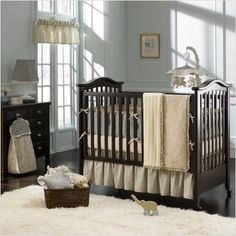 """looking at the """"cream"""" theme with the dark wood crib. will be having a dark crib ..."""