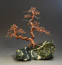 Bonsai Two trunk Copper Wire Tree Art Sculpture  By Artist H-Omer-2217