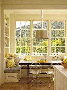 contemporary kitchen Bay window kitchen nook Bookshelf to left of window seat.back rest for sitting from that corner? Kitchen Ikea, Kitchen Benches, Kitchen Decor, Kitchen Booth Seating, Kitchen Booths, Kitchen Banquette Ideas, Kitchen Interior, County Kitchen Ideas, Kitchen Table With Bench