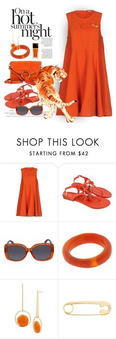 """""""Monochrome Orange"""" by kateo ❤ liked on Polyvore featuring P.A.R.O.S.H., Moda In Pelle, Fendi, Dinosaur Designs, Robert Lee Morris, True Rocks and 6777"""