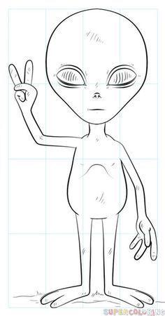 Kunst Zeichnungen - How to draw an alien Sharpie Drawings, Alien Drawings, Trippy Drawings, Space Drawings, Easy Drawings, Pencil Drawings, Alien Painting, Trippy Painting, Galaxy Painting