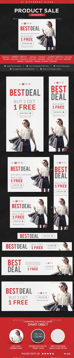 Product Sale Banners - Banners & Ads Web Template PSD. Download here: http://graphicriver.net/item/product-sale-banners/10912443?s_rank=1754&ref=yinkira